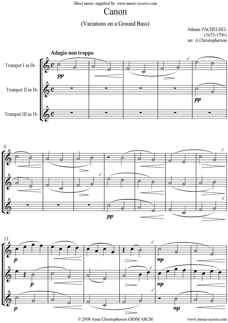 Canon: Trio for 3 Trumpets by Pachelbel