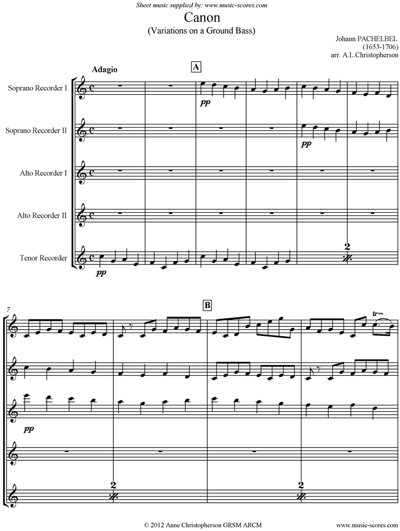 Canon: 2 Descants, 2 Altos, 1 Tenor: Recorder Quintet by Pachelbel