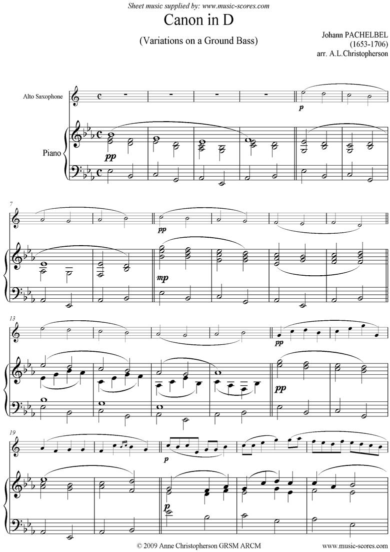 Canon: Alto Sax: Eb by Pachelbel