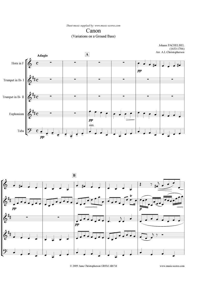 Canon: Horn, 2 Trumpets, Euph or Trombone, Tuba by Pachelbel