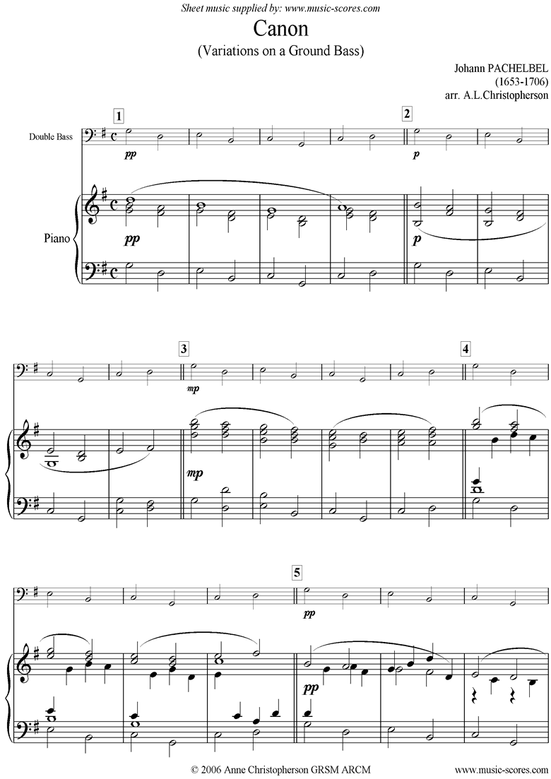 Front page of Canon: Easy Double Bass and Piano sheet music