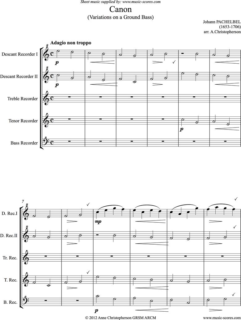 Canon: C: Easy Recorder Quintet by Pachelbel