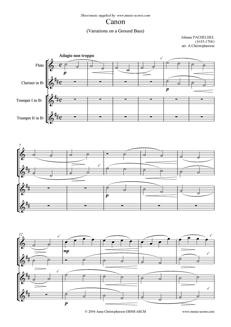 Front page of Canon: C: Easy: Flute, Clarinet, 2 Trumpets sheet music