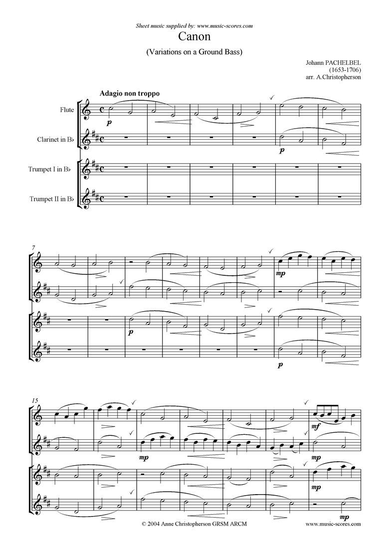 Front page of Canon: Flute, Clarinet, 2 Trumpets sheet music