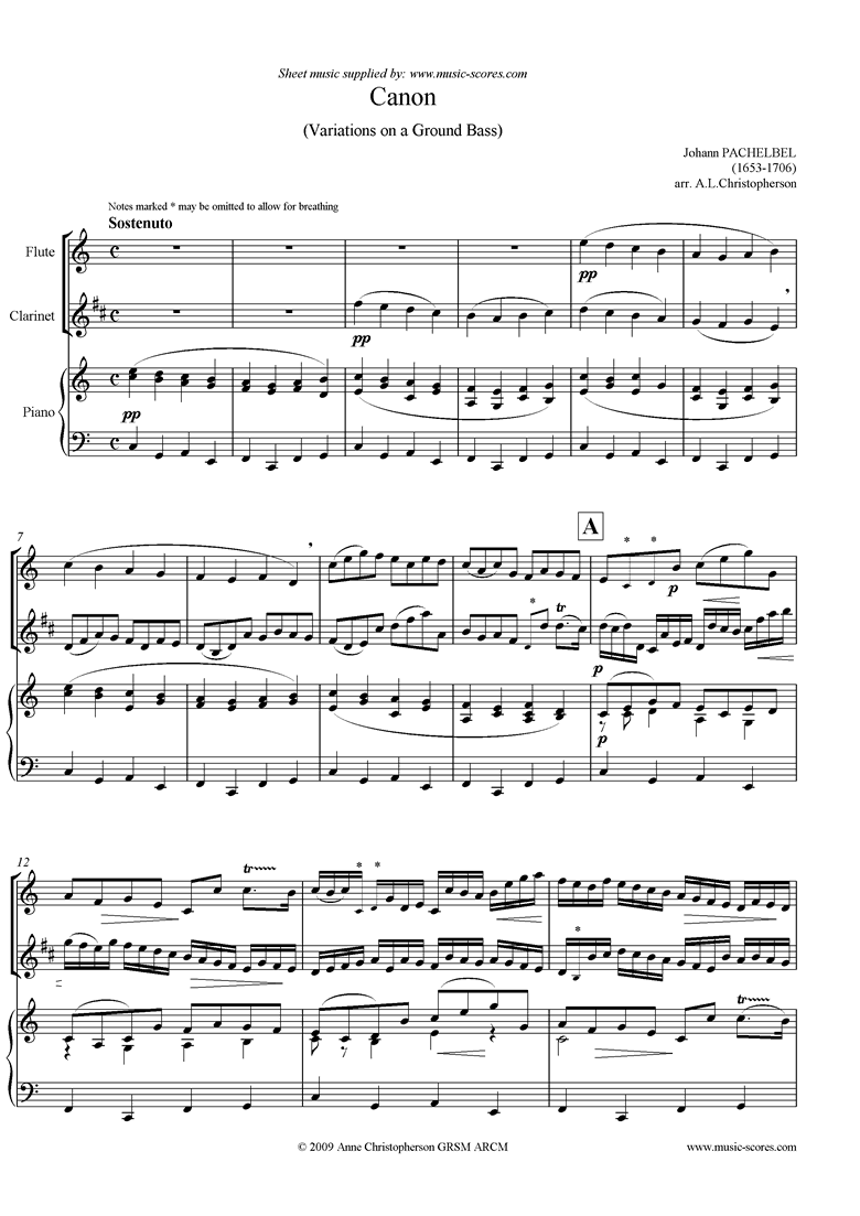 Front page of Canon: Flute, Clarinet and Piano sheet music
