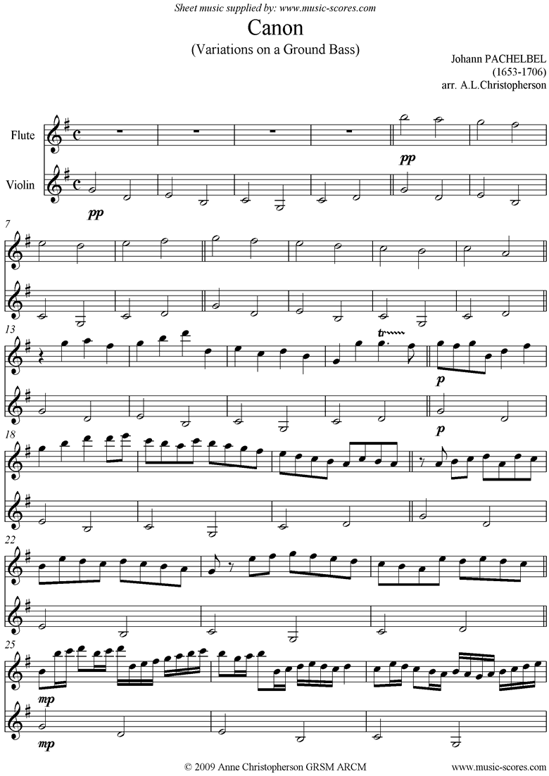 Front page of Canon: Flute and Violin sheet music