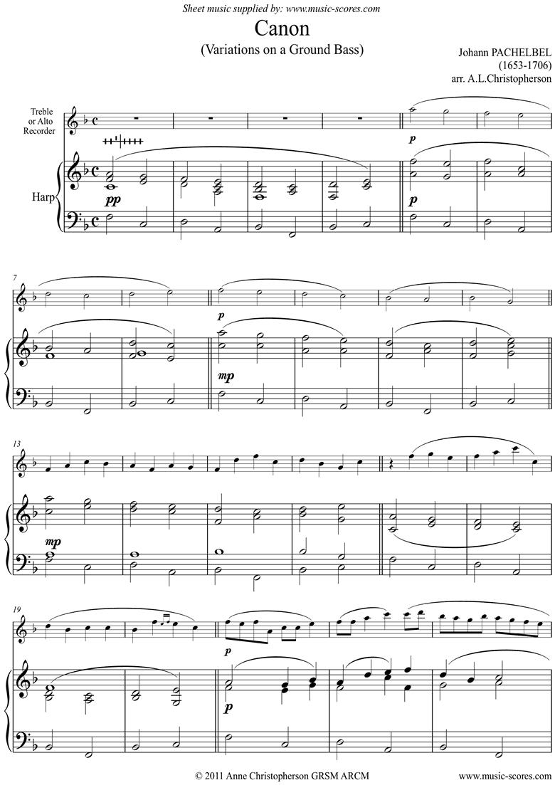 Canon: Alto or Treble Recorder, Harp by Pachelbel