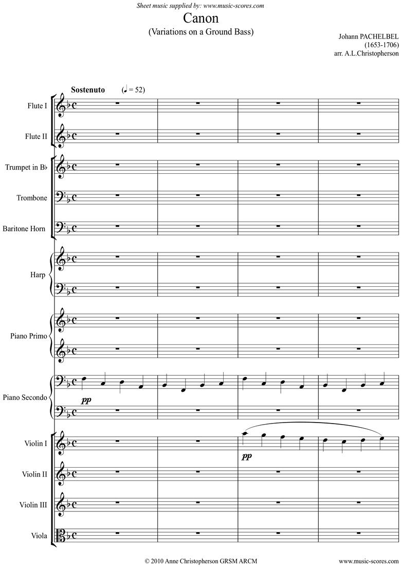 Canon: Wind, Brass, Harp, Piano duet, Strings: F major by Pachelbel