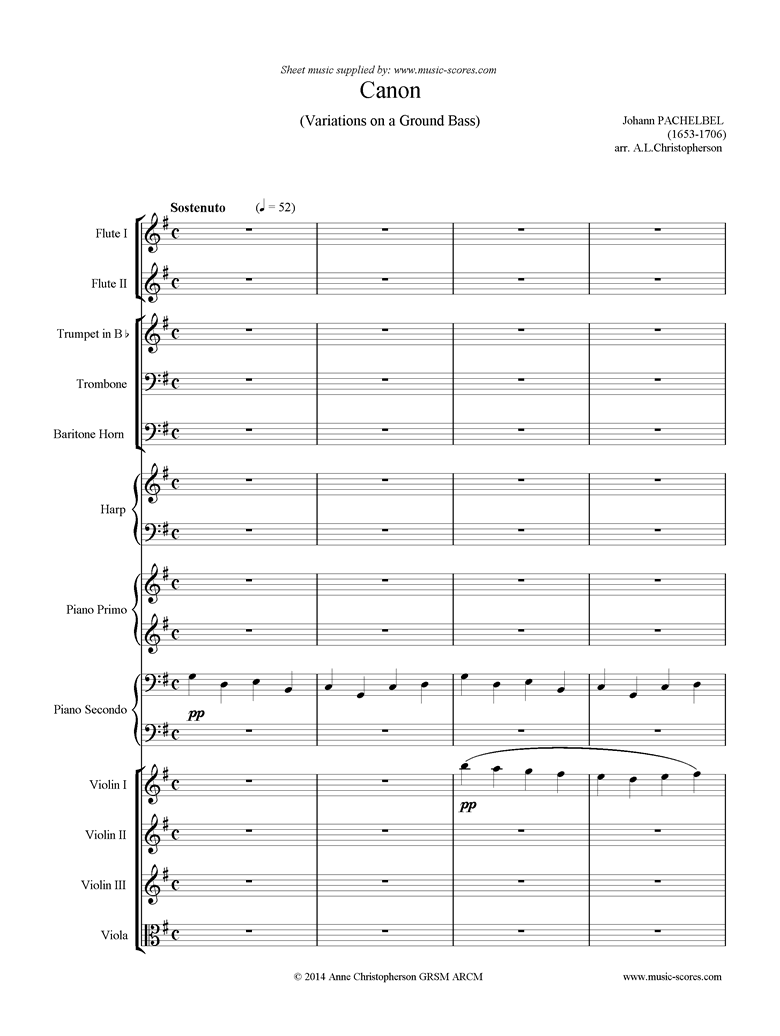Canon: Wind, Brass, Harp, Piano duet, Strings: G major by Pachelbel