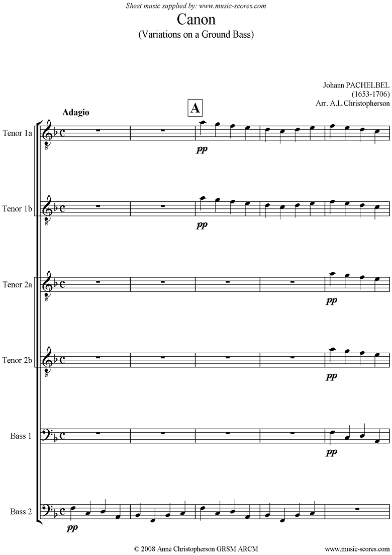 Canon: for Male Voice Choir TTTTBB short version by Pachelbel