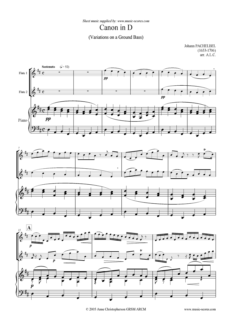 Front page of Canon: Trio for 2 Flutes and Piano sheet music