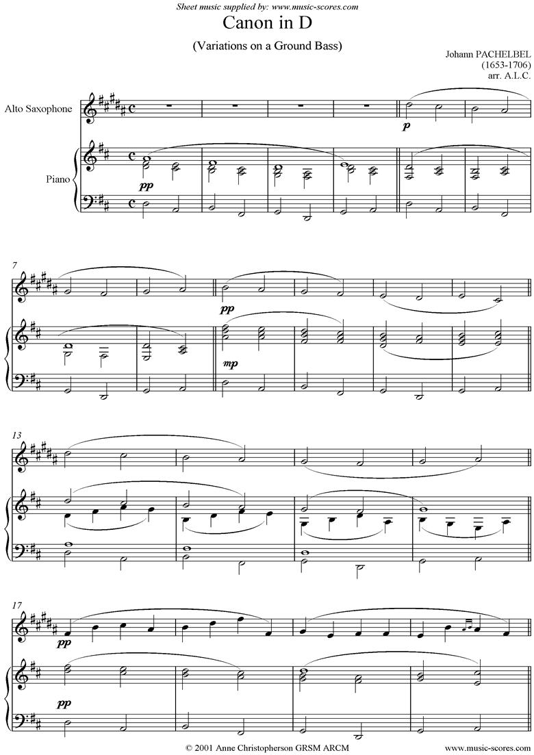 Canon: Alto Sax by Pachelbel