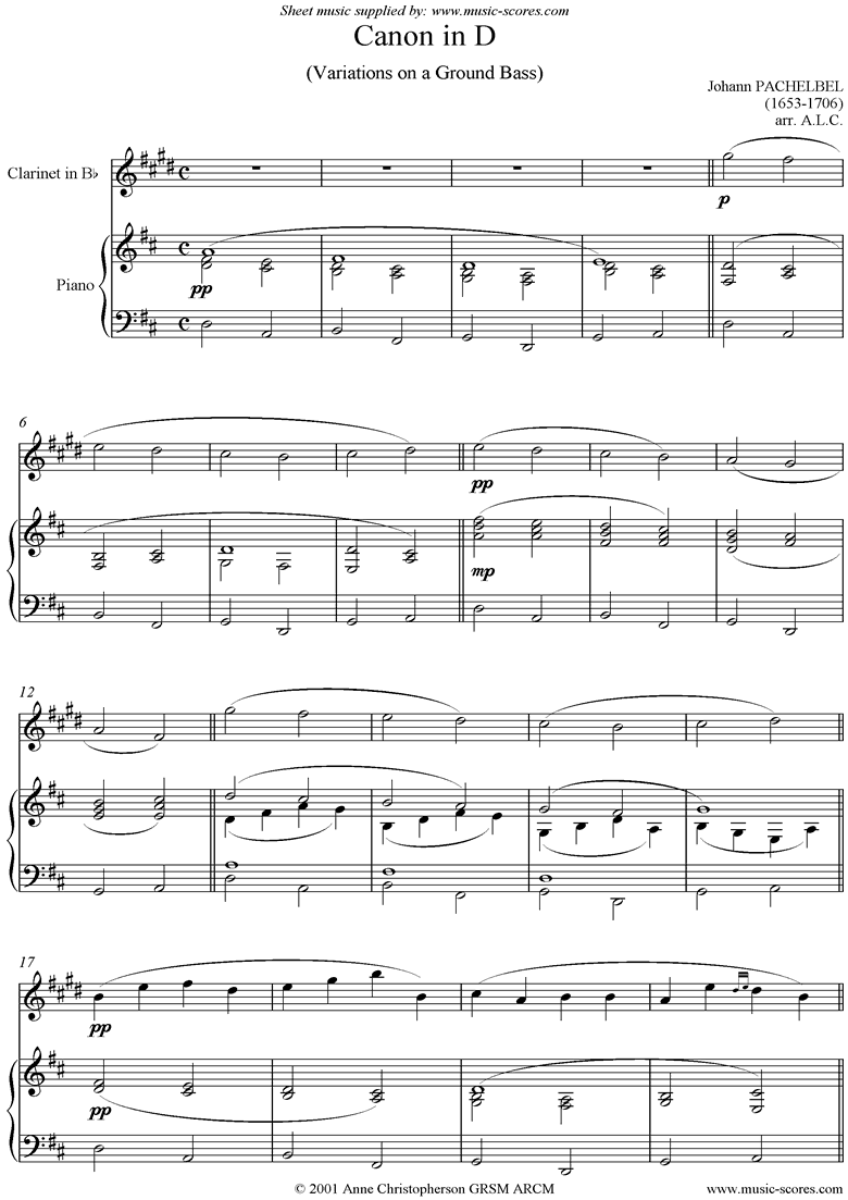 Front page of Canon: Clarinet sheet music