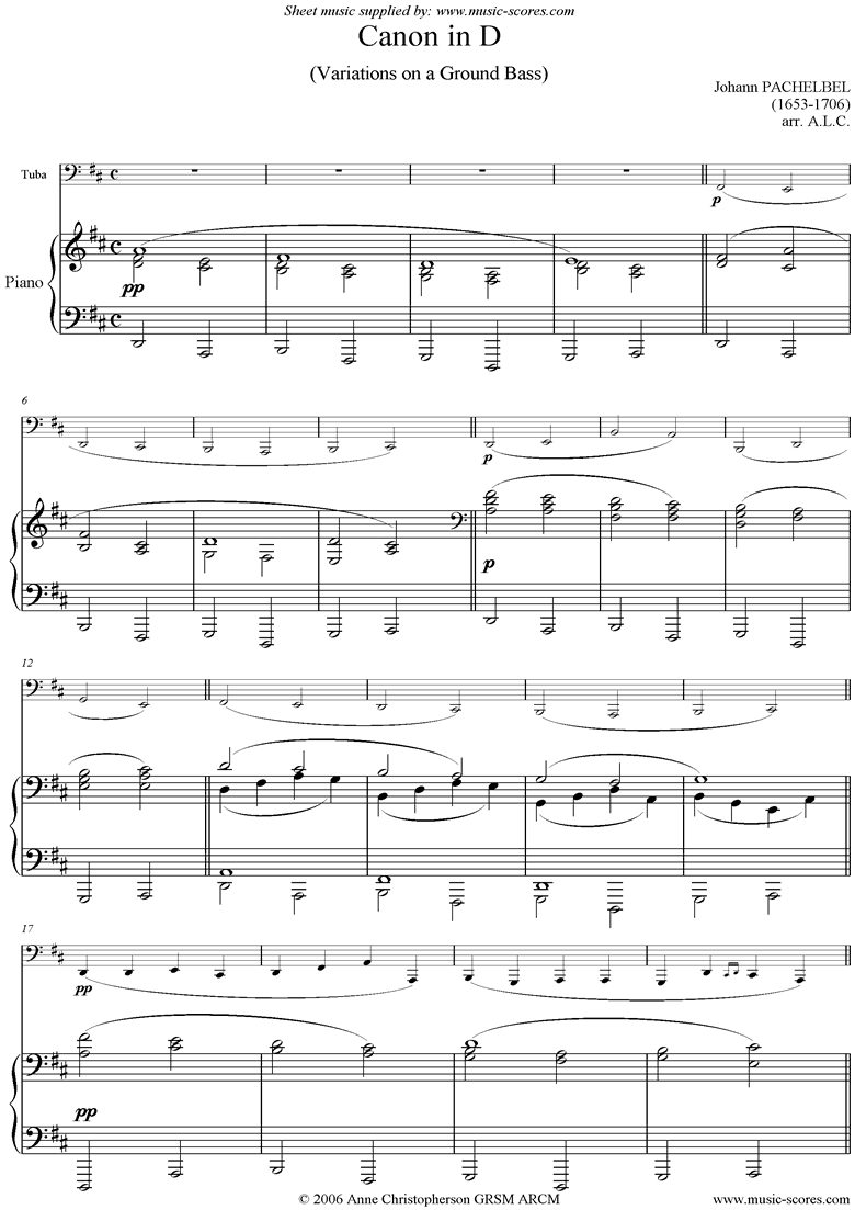 Front page of Canon: Tuba: lower sheet music