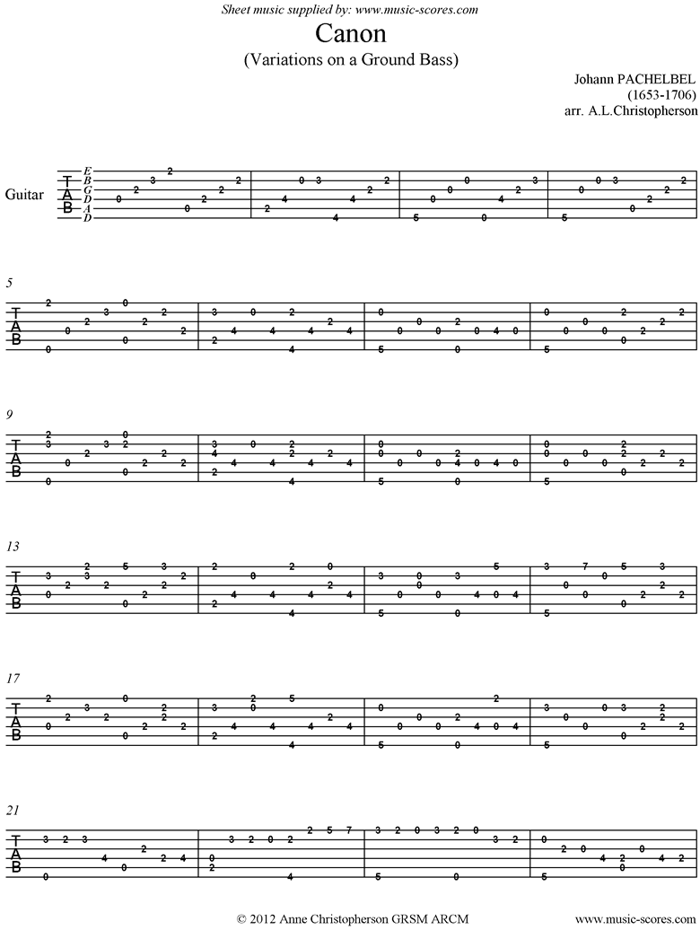 Front page of Canon: Guitar tabs sheet music