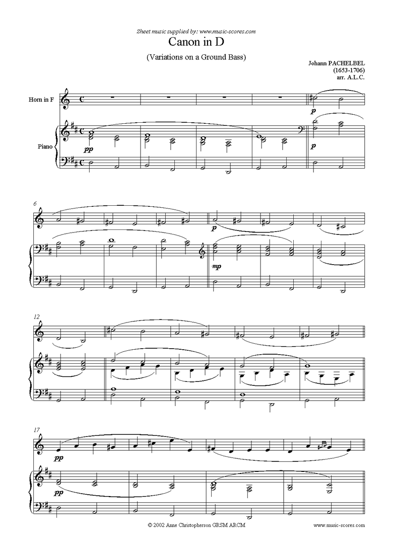Front page of Canon: French Horn sheet music