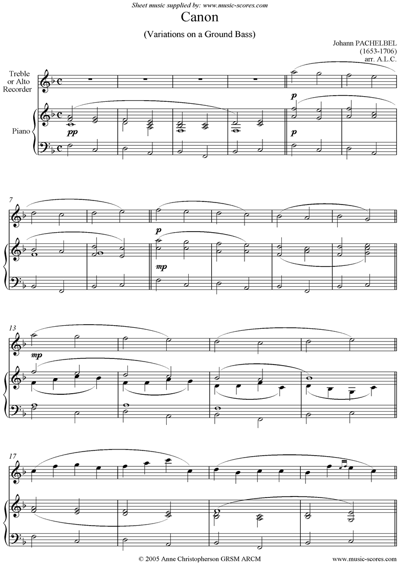 Front page of Canon: Alto or Treble Recorder sheet music