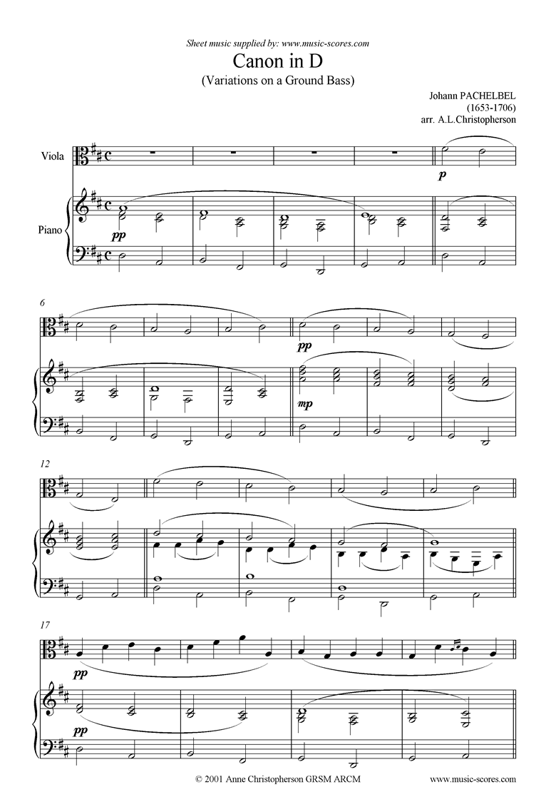 Front page of Canon: Viola sheet music