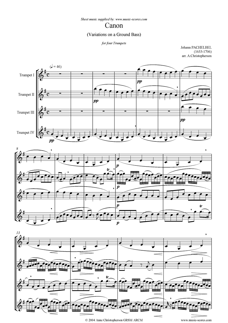 Canon: 4 Trumpets by Pachelbel