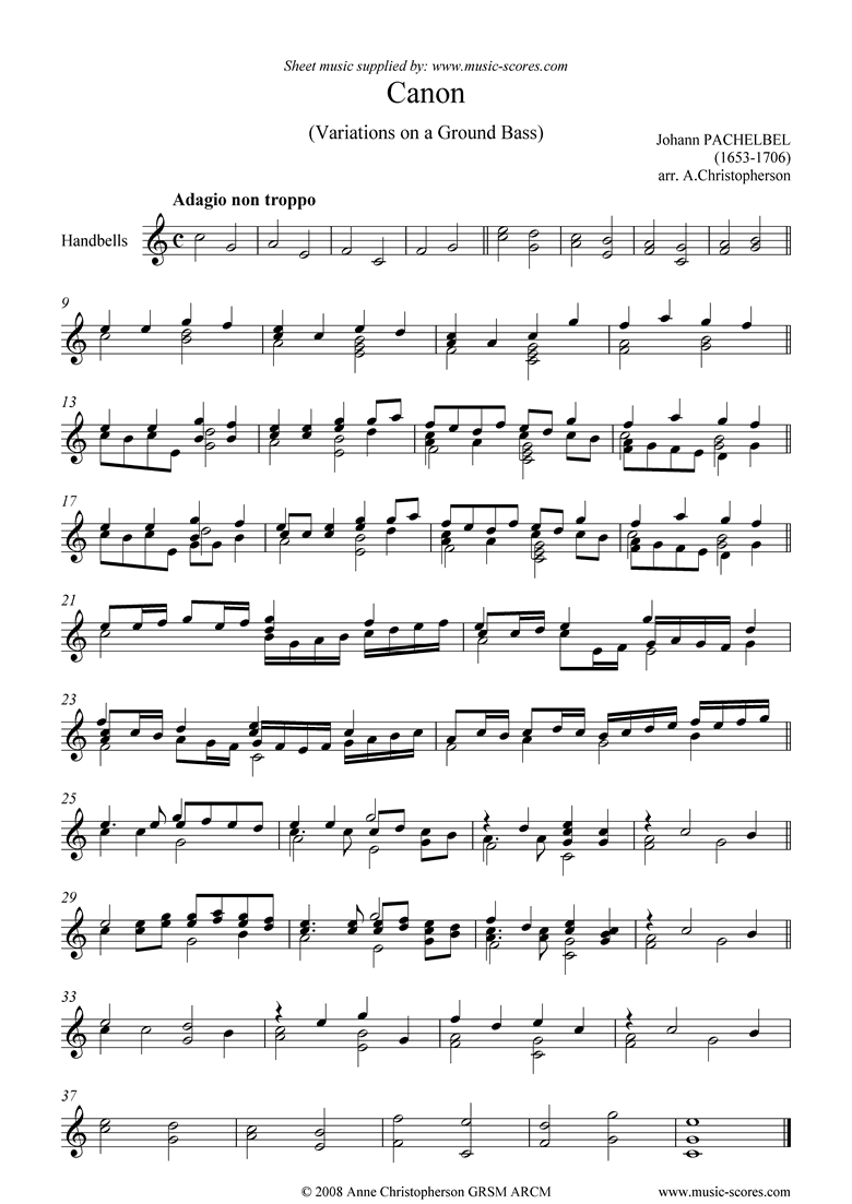 Front page of Canon: Handbells sheet music