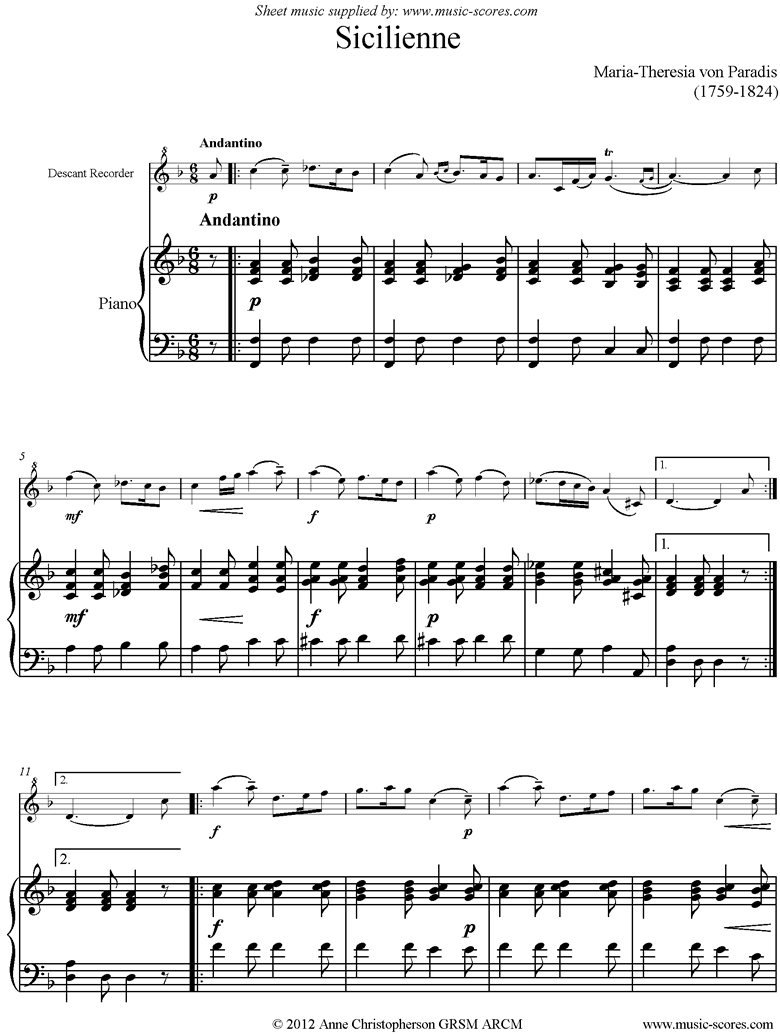 Front page of Siciliano: Descant Recorder, Piano sheet music