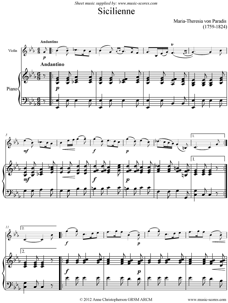 Front page of Siciliano: Violin, Piano sheet music