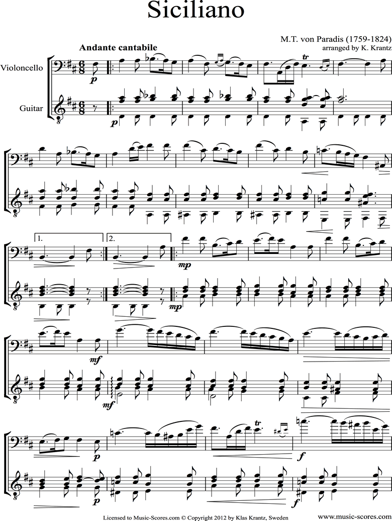 Front page of Siciliano: Cello, Guitar sheet music