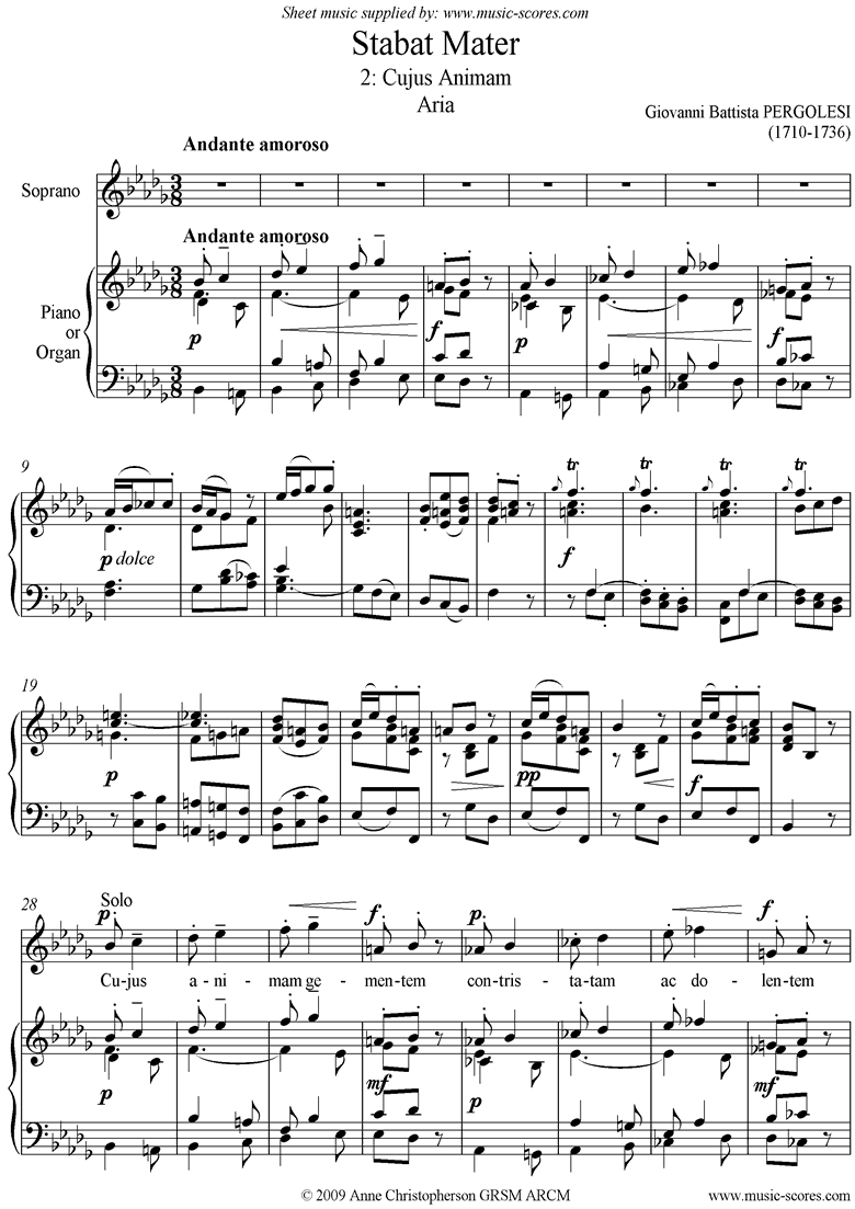 Front page of Stabat Mater 02 Cujus Animam: Soprano Solo sheet music