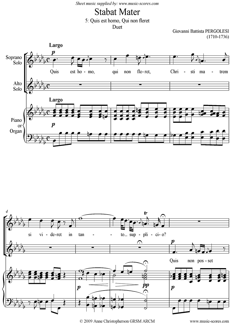 Front page of Stabat Mater 05 Quis est Homo: Duet: Bbmi sheet music