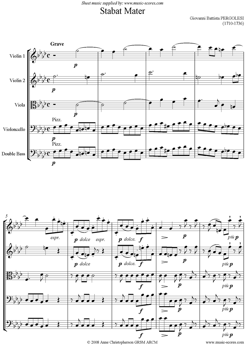 Front page of Stabat Mater 01 Choir SA and Strings sheet music