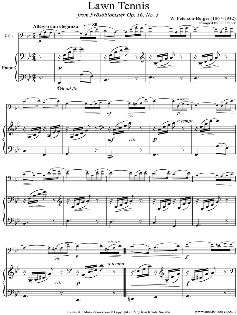 Front page of Op.16 No.3: Lawn tennis: Cello, Piano sheet music