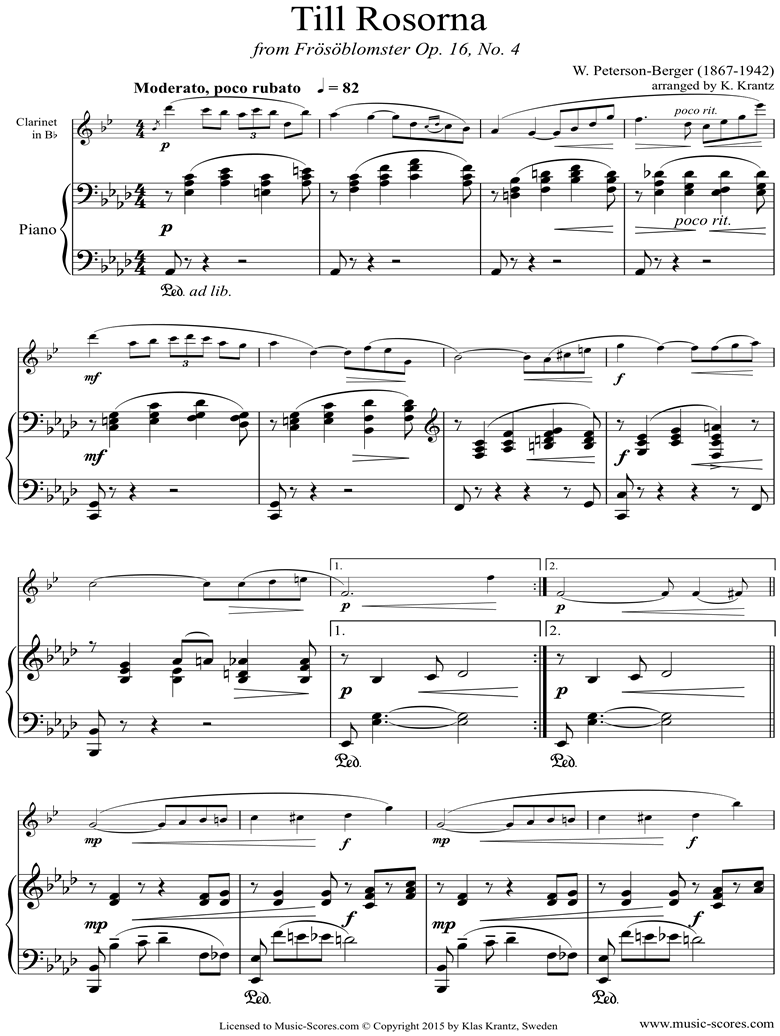Front page of Op.16 No.4: Till Rosorna: Clarinet, Piano sheet music