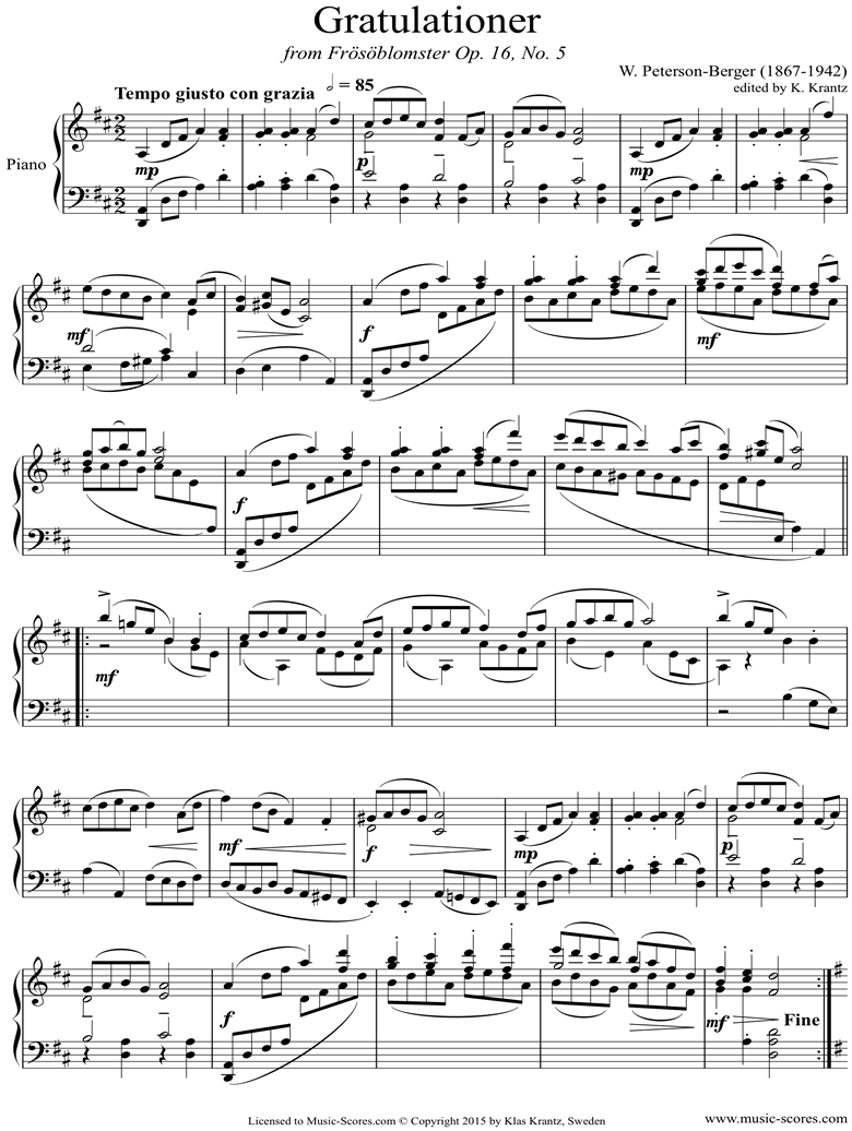 Front page of Op.16 No.5: Congratulationer: Piano sheet music