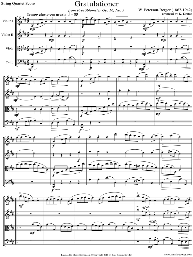 Front page of Op.16 No.5: Congratulationer: String Quartet sheet music