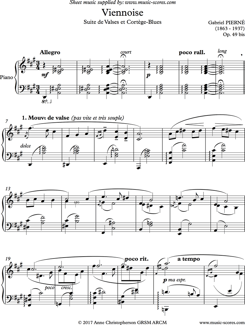Front page of Viennoise: Suite de Valses et Cortege Blues: Piano sheet music