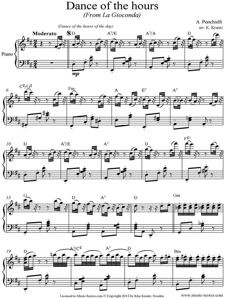 Front page of Dance of the Hours: Piano sheet music
