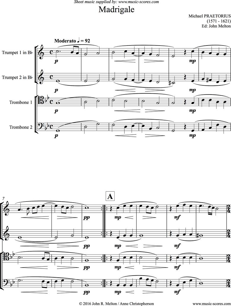 Madrigale: Brass 4 by Praetorius