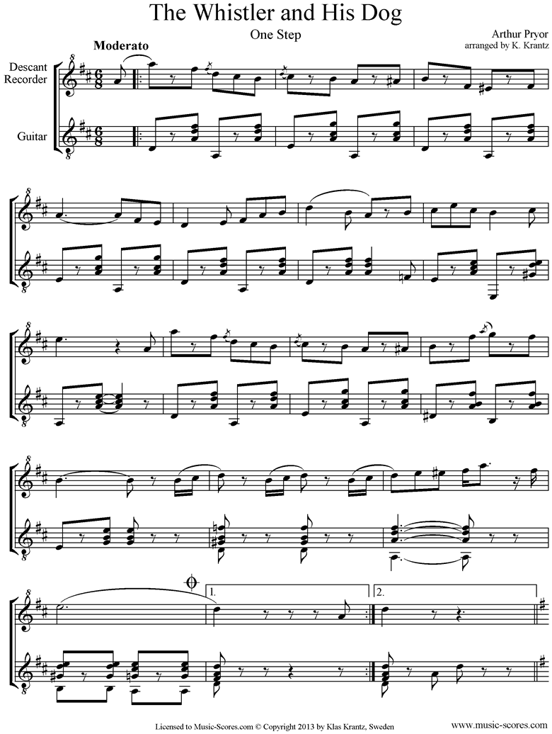 Front page of The Whistler and his Dog: Descant Recorder, Guitar sheet music