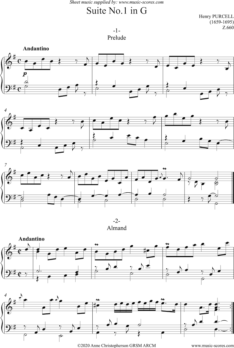 Front page of Suite No1 in G: Z.660: Harpsichord sheet music