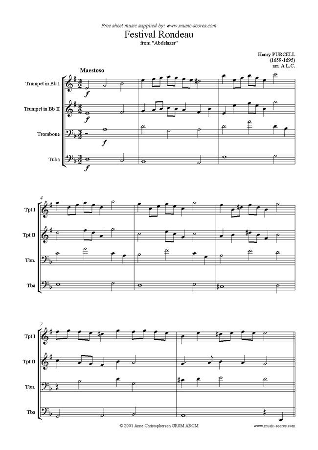 abdelazer festival rondeau brass 4 sheet music by henry purcell  music-scores.com