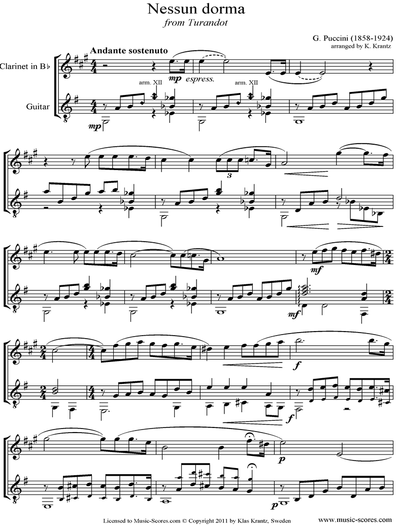 Front page of Turandot: Nessun Dorma: Clarinet, Guitar sheet music