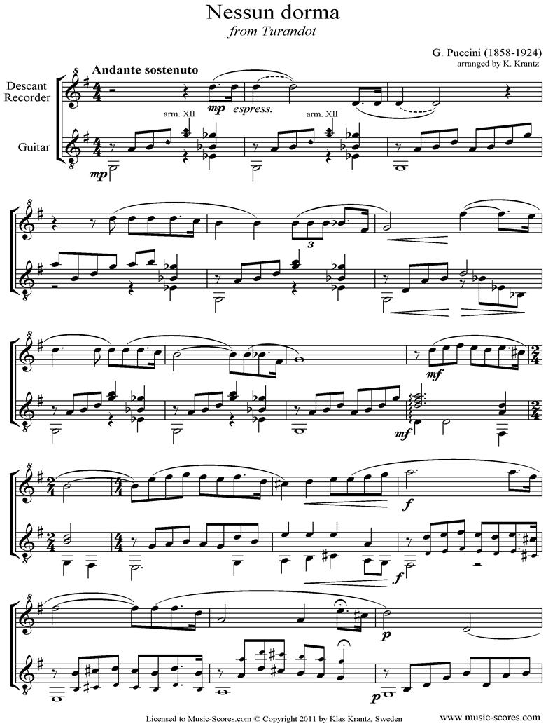 Turandot: Nessun Dorma: Descant Recorder, Guitar by Puccini