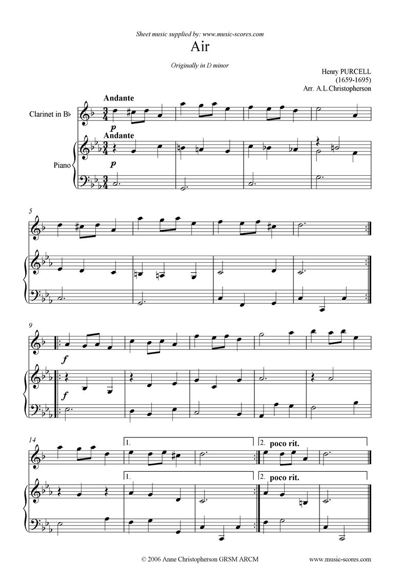 Air in D minor: Clarinet by Purcell