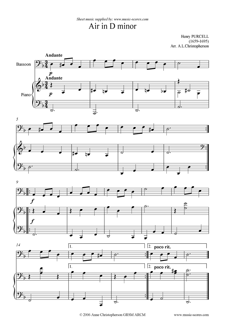 Front page of Air in D minor: Bassoon sheet music