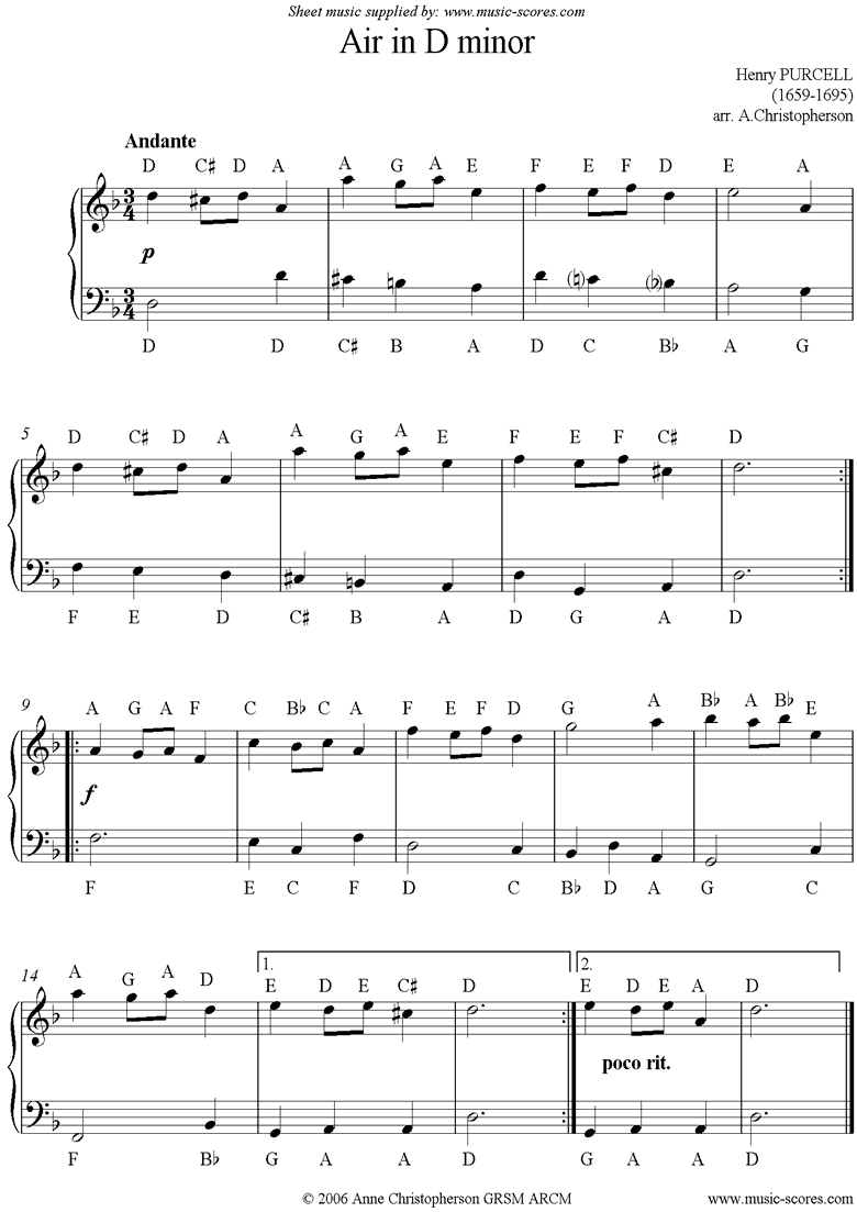Front page of Air in D minor: Easy piano sheet music