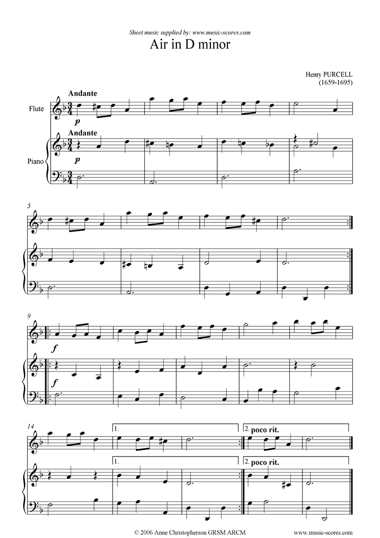 Front page of Air in D minor: Flute sheet music