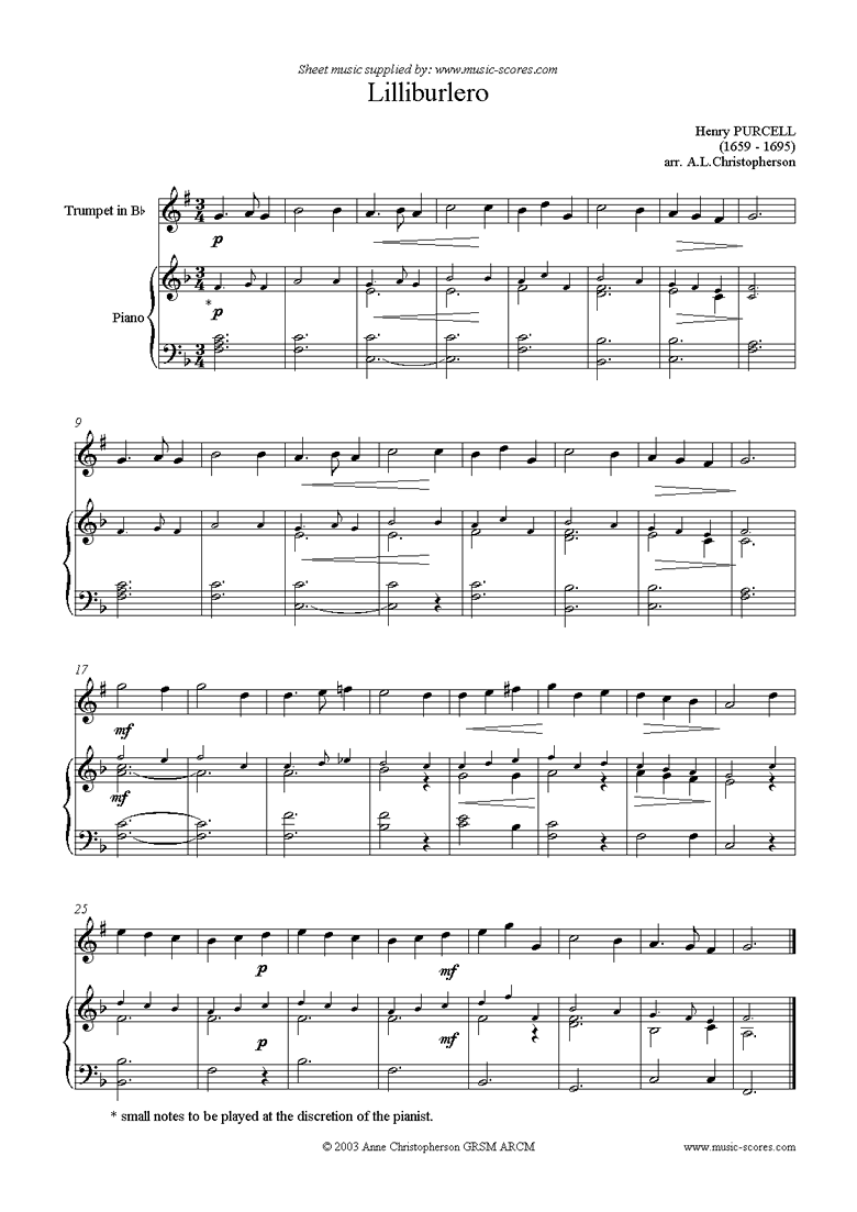 Front page of Lilliburlero: Trumpet sheet music