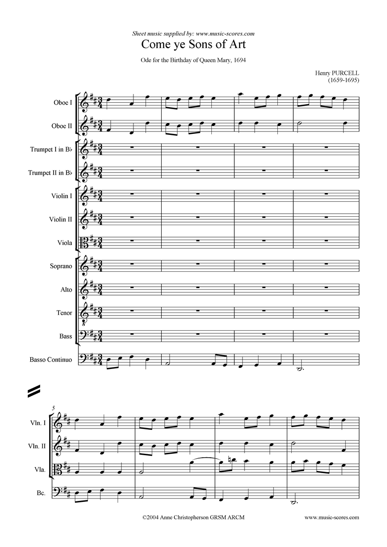 Front page of Come Ye Sons of Art, 2nd Chorus: Chamber Orchestra sheet music