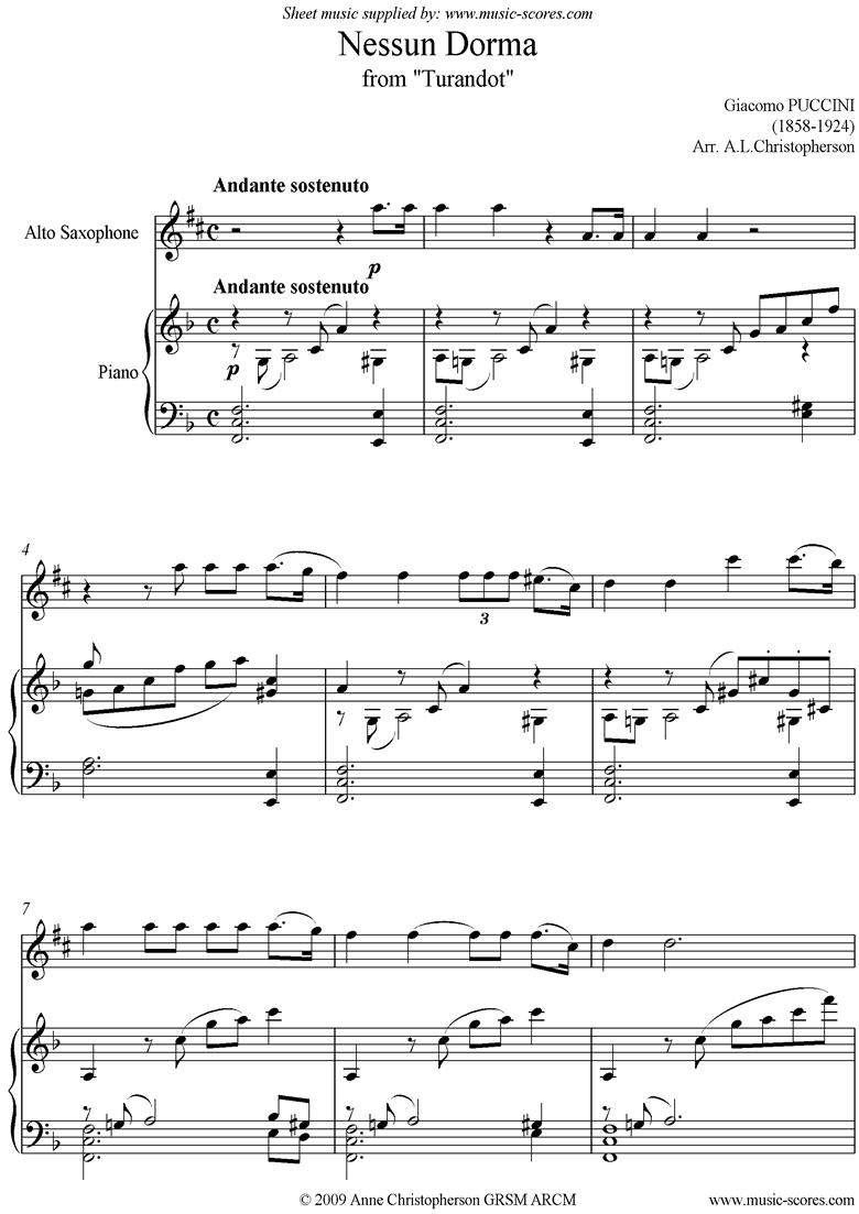 Turandot: Nessun Dorma: Alto Sax by Puccini