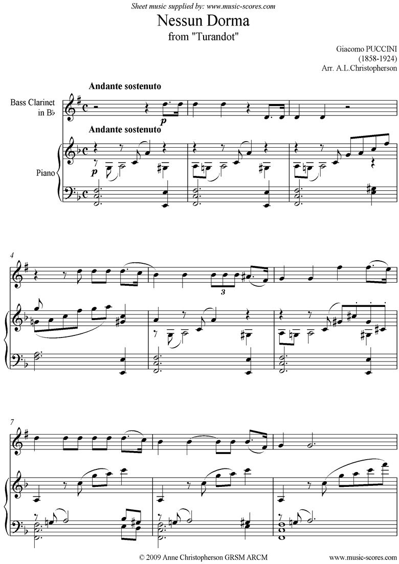 Turandot: Nessun Dorma: Bass Clarinet by Puccini